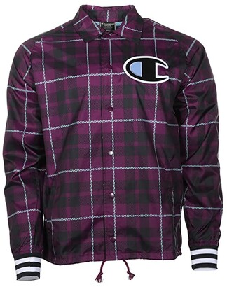 Champion Satin Coaches Jacket Ribbed Cuff AOP (Plaid 101 Venetian Purple) Men's Clothing