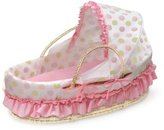 Badger Basket Company Natural Moses Basket with Fabric Canopy, Pink and Sage Dot by