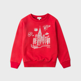 Paul Smith Boys' 2-6 Years Red Glow-In-The-Dark 'Alien City' Print Sweatshirt