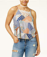 American Rag Juniors' Patchwork-Print Lace-Inset Tank, Only at Macy's
