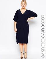 Asos Asymmetric Hem Wiggle Dress With Kimono Sleeves