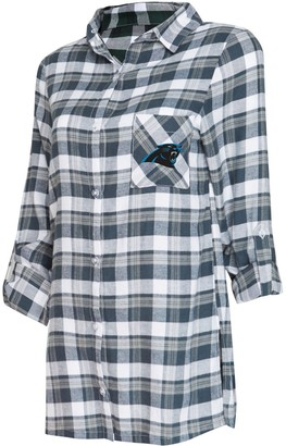 Women's Concepts Sport Charcoal/Gray Carolina Panthers Piedmont Flannel Button-Up Long Sleeve Nightshirt