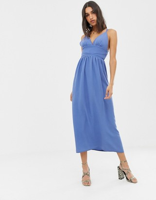 Love denim cami strap midi dress-Blue