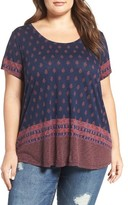 Lucky Brand Plus Size Women's Jaibur Block Scoop Neck Tee