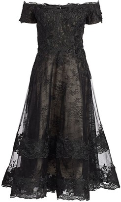 Teri Jon By Rickie Freeman Off-The-Shoulder Lace Cocktail Dress