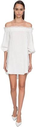 Ermanno Scervino Off-The-Shoulder Linen & Lace Mini Dress