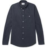 NN07 - Derek Slim-fit Button-down Collar Cotton-flannel Shirt - Storm blue