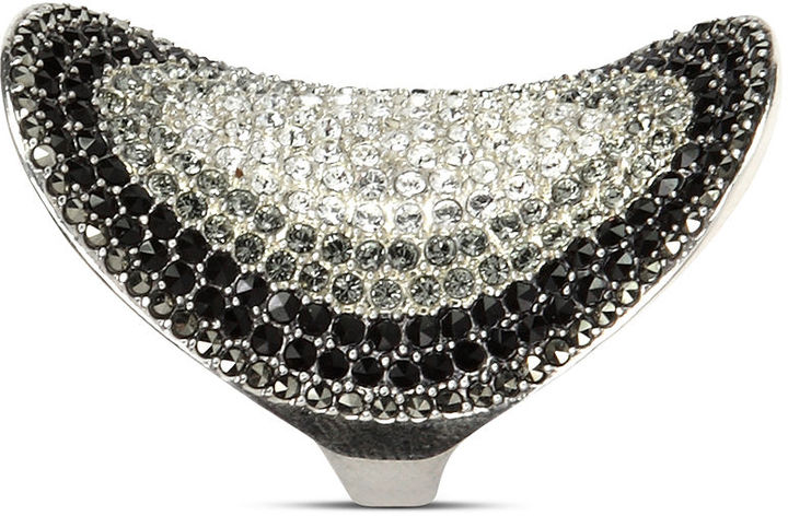Judith Jack Ring, Sterling Silver Marcasite (3/4 ct. t.w.), Onyx (1 ct. t.w.) and Crystal (3/8 ct. t.w.) Cocktail Ring