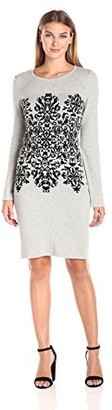 Sandra Darren Women's Longsleeve Printed Placement Sweater Dress Grey/Black Small