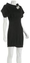 Signette black stretch knit jersey boat neck dress