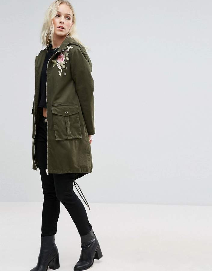 New Look Petite Embroidered Parka Jacket