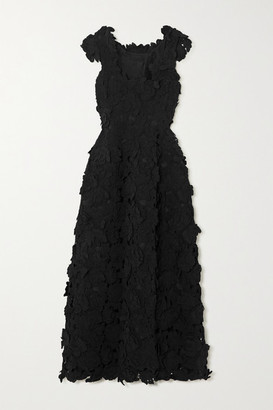 The Row Luciano Appliqued Woven Gown - Black