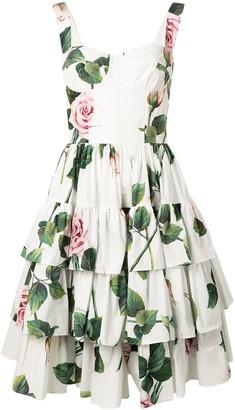 Dolce & Gabbana Rose Print Tiered Dress
