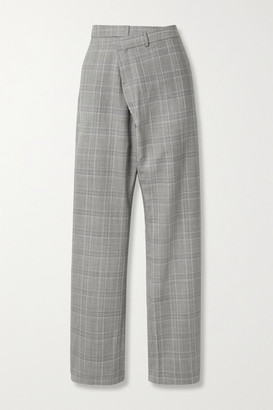 R 13 Checked Wool-blend Tapered Pants - Gray