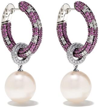 Yoko London 18kt white gold Belgravia south sea pearl, diamond and pink sapphire earrings