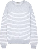 John Smedley Redfree Grey Striped Cotton Jumper