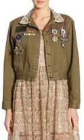 Alice + Olivia Chloe Embroidered Cropped Army Cotton Jacket