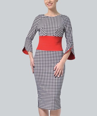 LADA LUCCI Women's Career Dresses Red, - Red Houndstooth Bell-Sleeve Sheath Dress - Women & Plus