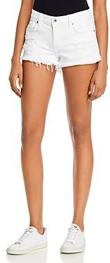 Pistola Denim Gigi Low-Rise Cutoff Denim Shorts in White