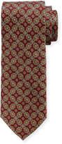 Neiman Marcus Boxed Medallion-Print Silk Tie