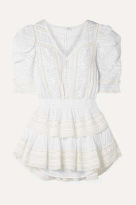 LoveShackFancy Marissa Tiered Crochet-trimmed Broderie Anglaise Cotton-voile Mini Dress - White