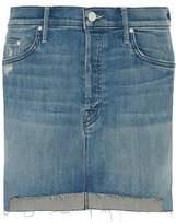 Mother The Step Distressed Stretch-Denim Mini Skirt