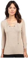 Calvin Klein Fine Gauge Lace-Up Sweater