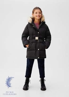 MANGO Feather belt coat