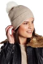 Sofia Cashmere Genuine Fox Fur Pompom Marl Hat