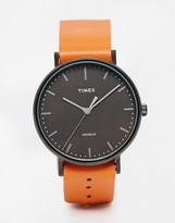 Timex Weekender Fairfield Leather Watch In Tan Tw2p91400