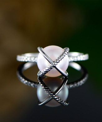Mother of Pearl Ben Stacy Women's Rings Silver/White - Mother-of-Pearl & Sterling Silver X Ring