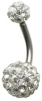 Women's Supreme JewelryTM Curved Barbell Belly Ring with Stones - Silver/Clear