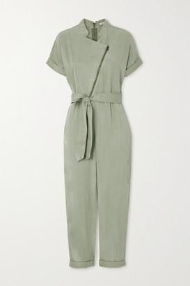 Alice + Olivia Leonarda Belted Lyocell-blend Twill Jumpsuit - Green