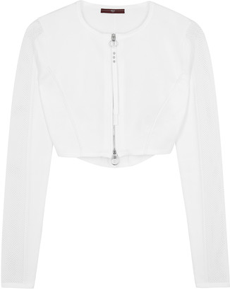 High Halftime White Panelled Cropped Cardigan
