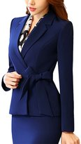 Oncefirst Women's Formal Belt Blazer and Skirt Suits Suits Blue
