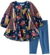 Bonnie Jean Toddler Girl Floral Woven Top & Striped Leggings Set