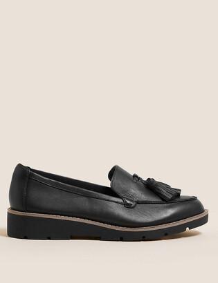 Marks and Spencer Wide Fit Leather Tassel Flatform Loafers