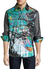 robert graham sneakers graphic longsleeve sport shirt multi