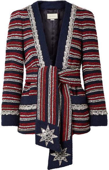 Gucci Embellished Striped Cotton-blend Bouclé-tweed Blazer - Navy