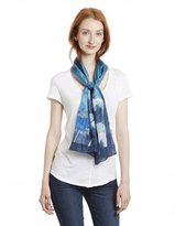 Invisible World Hand-Painted 100% Silk Scarf - Lotus Flowers on Blue