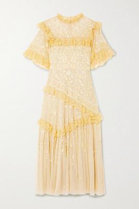 Needle & Thread + Jasmine Hemsley Earth Garden Lace-trimmed Embroidered Tulle Midi Dress