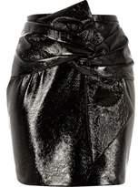 River Island Womens Black vinyl bow front mini skirt