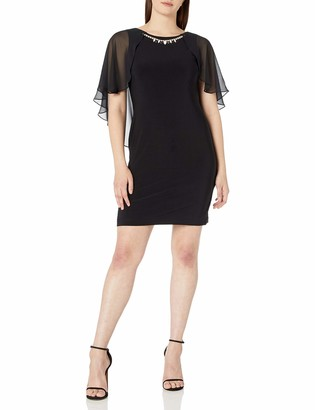 Ronni Nicole Women's Capelet Sheath Dress with Necklace Trim