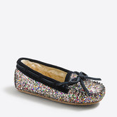 J.Crew Factory Girls' glitter shearling slippers