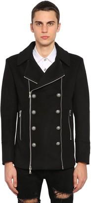 Balmain Wool Blend Pea Coat W/ Zips