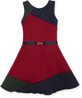 Zoë Ltd Gigi Colorblock Swing Dress w/ Belt, Size 4-6X