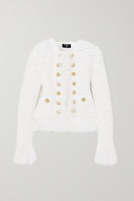 Balmain Fringed Tweed Blazer - White