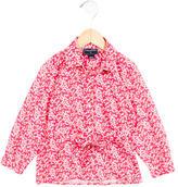 Oscar de la Renta Girls' Floral Print Belted Top