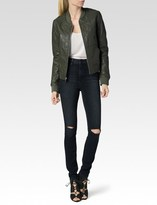 Paige Zoey Bomber Jacket - Army Leather