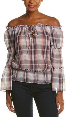 Max Studio Women's Plaid Gauze Off The Shoulder Blouse